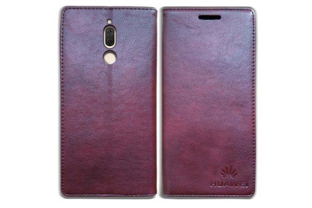 Фирменный чехол-книжка из качественной импортной кожи с мульти-подставкой для Huawei Mate 20 Lite (SNE-LX1)  бордовый