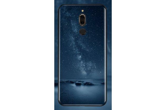 """Фирменный ультра-тонкий силиконовый чехол-бампер для Huawei Mate 20 Lite (SNE-LX1) с закаленным стеклом на заднюю крышку телефона с 3D изображением """"Ночное небо"""""""