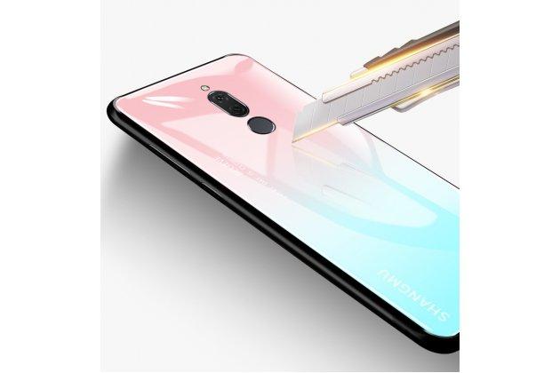 Фирменный ультра-тонкий силиконовый чехол-бампер для Huawei Mate 20 Lite (SNE-LX1) с закаленным стеклом на заднюю крышку телефона фиолетово-розовый градиент