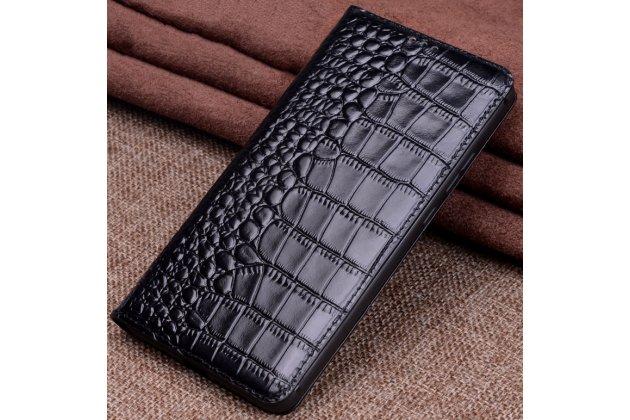 Фирменный чехол-книжка с подставкой для Huawei Mate 20 Lite (SNE-LX1) лаковая кожа крокодила черный