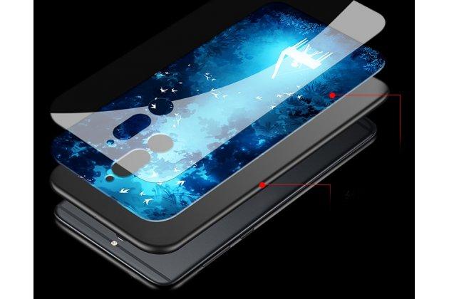 """Фирменный ультра-тонкий силиконовый чехол-бампер для Huawei Mate 20 Lite (SNE-LX1) с закаленным стеклом на заднюю крышку с изображением """"Бабочки"""""""