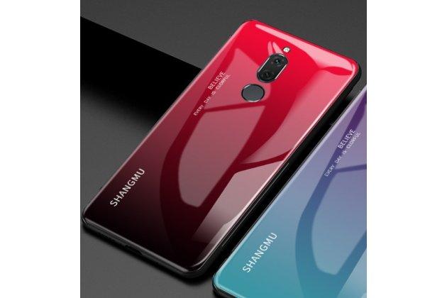 Фирменный ультра-тонкий силиконовый чехол-бампер для Huawei Mate 20 Lite (SNE-LX1) с закаленным стеклом на заднюю крышку телефона бордово-красный градиент