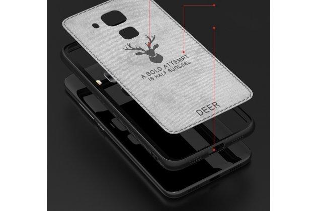"""Фирменная роскошная задняя панель-чехол-накладка из мягкого силикона и ткани с 3D изображением на Huawei Mate 20 Lite (SNE-LX1) с безумно красивым рисунком тематика """"Олень"""" коричневый"""