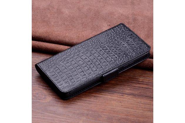 Фирменный роскошный эксклюзивный чехол с фактурной прошивкой рельефа кожи крокодила и визитницей черный для Huawei Mate 20 Lite (SNE-LX1). Только в нашем магазине. Количество ограничено