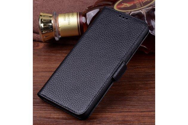 Фирменный чехол-книжка из качественной импортной кожи с подставкой застёжкой и визитницей для Huawei Mate 20 Lite (SNE-LX1) черный