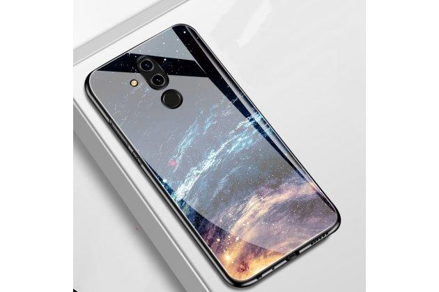 """Фирменный ультра-тонкий силиконовый чехол-бампер для Huawei Mate 20 Lite  SNE-LX1) с закаленным стеклом на заднюю крышку телефона с 3D изображением """"Космос"""""""