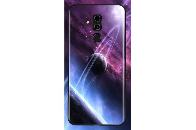 """Фирменный ультра-тонкий силиконовый чехол-бампер для Huawei Mate 20 Lite (SNE-LX1) с закаленным стеклом на заднюю крышку телефона с 3D изображением """"Планета"""""""