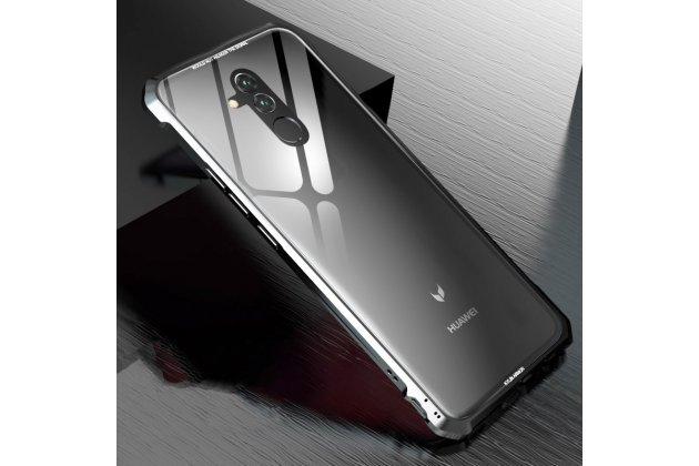 Неубиваемый противоударный ударопрочный фирменный чехол-бампер для Huawei Mate 20 Lite (SNE-LX1) с металлическими защитными углами со стеклом задней крышки Gorilla Glass цвет серебристый