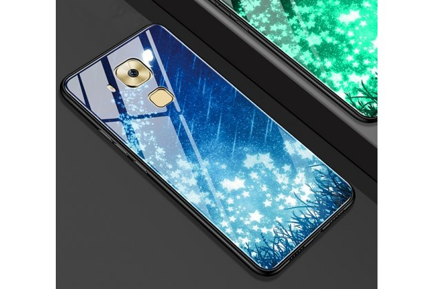 """Фирменный ультра-тонкий силиконовый чехол-бампер для Huawei Mate 20 Lite (SNE-LX1) с закаленным стеклом на заднюю крышку телефона с 3D изображением """"Звезды"""""""