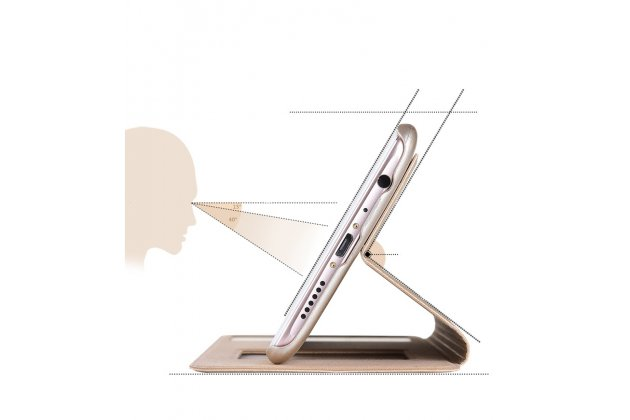 Фирменный чехол-книжка для Huawei Mate 20 Lite (SNE-LX1) золотой с окошком для входящих вызовов и свайпом водоотталкивающий