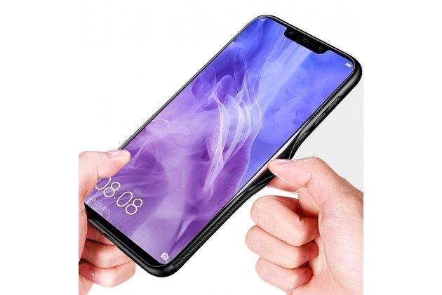 Фирменный ультра-тонкий силиконовый чехол-бампер для Huawei Mate 20 Lite (SNE-LX1) с закаленным стеклом на заднюю крышку телефона черный