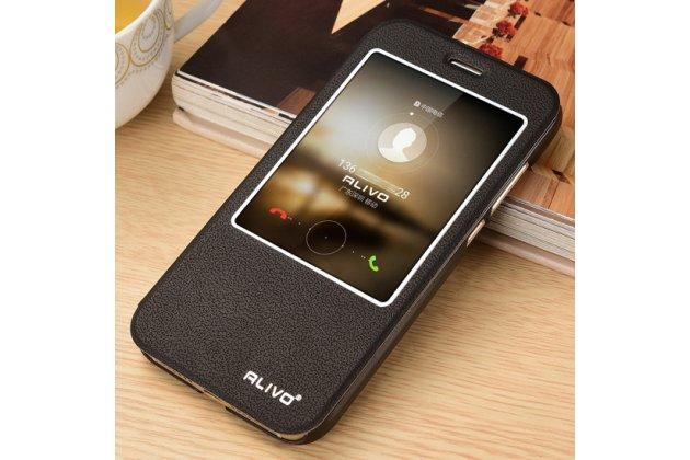 Фирменный оригинальный чехол-книжка для Huawei Mate 20 Lite (SNE-LX1) черный с окошком для входящих вызовов водоотталкивающий