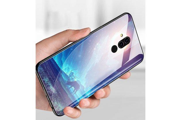 """Фирменный ультра-тонкий силиконовый чехол-бампер для Huawei Mate 20 Lite (SNE-LX1) с закаленным стеклом на заднюю крышку телефона с 3D изображением """"Северное сияние"""""""