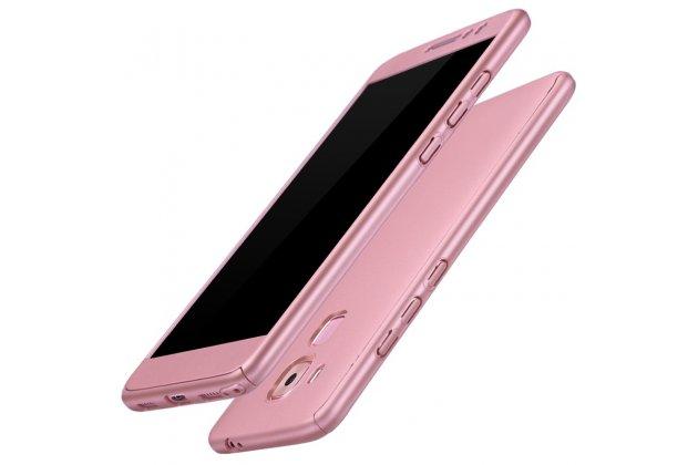 Фирменный уникальный чехол-бампер-панель с полной защитой дисплея и телефона по всем краям и углам для Huawei Mate 20 Lite (SNE-LX1) розовое золото