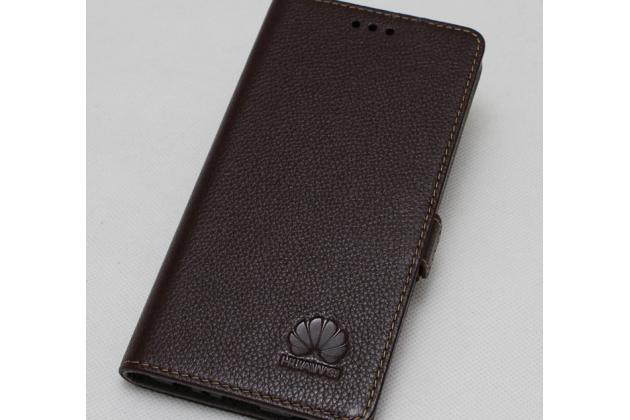 Фирменный чехол-книжка  из качественной импортной кожи с застёжкой и мультиподставкой для Huawei Mate 20 Lite (SNE-LX1) с логотипом коричневый
