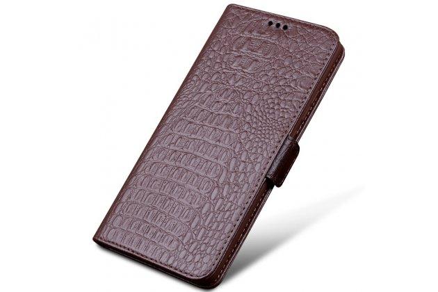 Фирменный роскошный эксклюзивный чехол с фактурной прошивкой рельефа кожи крокодила и визитницей коричневый для Huawei Mate 20 Lite (SNE-LX1). Только в нашем магазине. Количество ограничено