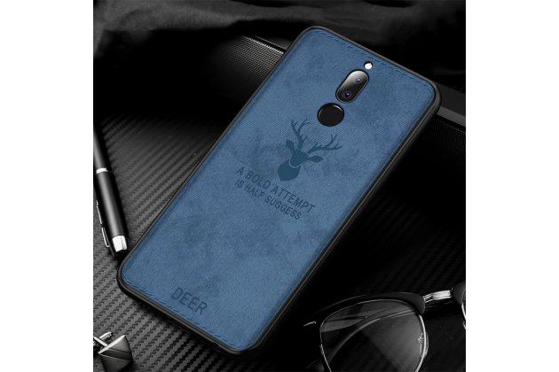 """Фирменная роскошная задняя панель-чехол-накладка из мягкого силикона и ткани с 3D изображением на Huawei Mate 20 Lite (SNE-LX1) с безумно красивым рисунком тематика """"Олень"""" синий"""