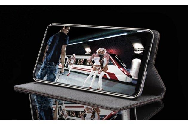 Фирменный чехол-книжка из качественной импортной кожи с мульти-подставкой для Huawei Mate 20 Lite (SNE-LX1) коричневый