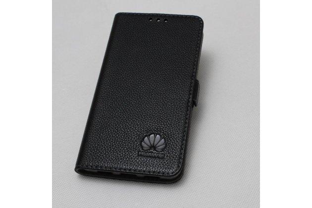 Фирменный чехол-книжка  из качественной импортной кожи с застёжкой и мультиподставкой для Huawei Mate 20 Lite (SNE-LX1) с логотипом черный