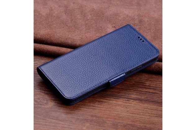 Фирменный чехол-книжка из качественной импортной кожи с подставкой застёжкой и визитницей для Huawei Mate 20 Lite (SNE-LX1) синий
