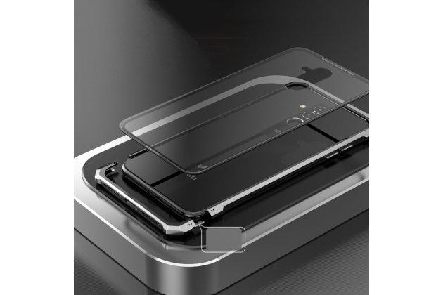Неубиваемый противоударный ударопрочный фирменный чехол-бампер для Huawei Mate 20 Lite (SNE-LX1) с металлическими защитными углами со стеклом задней крышки Gorilla Glass цвет синий