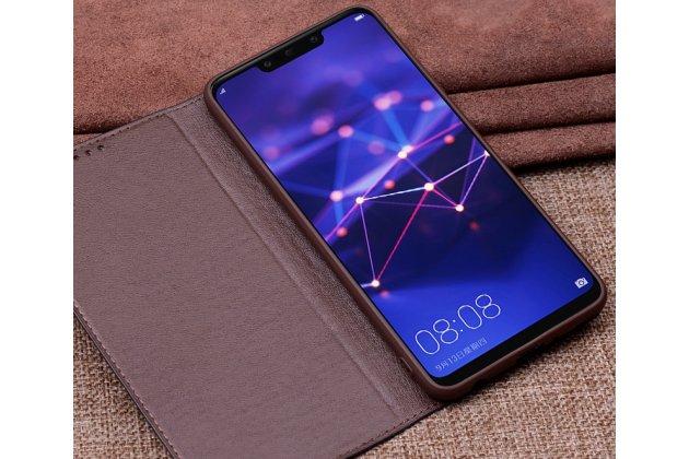 Фирменный чехол-книжка из фактурной качественной импортной кожи с мульти-подставкой для Huawei Mate 20 Lite (SNE-LX1) черный