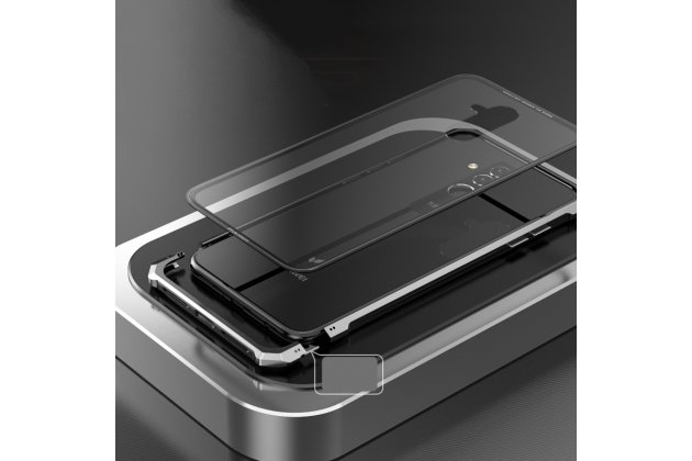 Неубиваемый противоударный ударопрочный фирменный чехол-бампер для Huawei Mate 20 Lite (SNE-LX1) с металлическими защитными углами со стеклом задней крышки Gorilla Glass цвет золотой