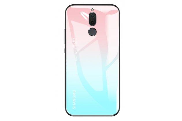 Фирменный ультра-тонкий силиконовый чехол-бампер для Huawei Mate 20 Lite (SNE-LX1) с закаленным стеклом на заднюю крышку телефона розово-голубой градиент