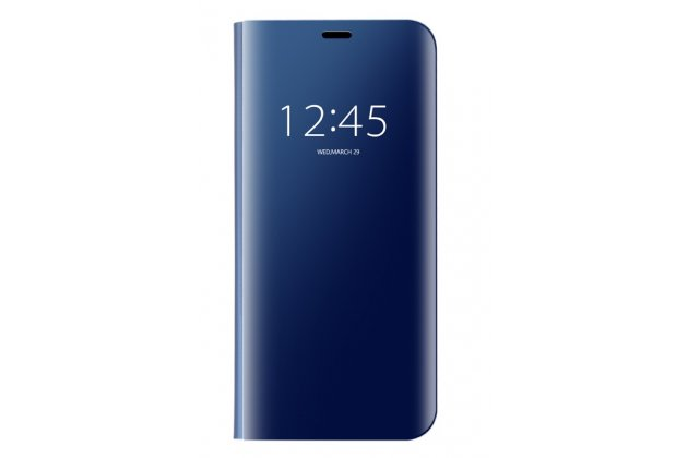 """Чехол-книжка с дизайном """"Clear View Cover"""" полупрозрачный с зеркальной поверхностью для Huawei Mate 20 Lite (SNE-LX1) голубой"""