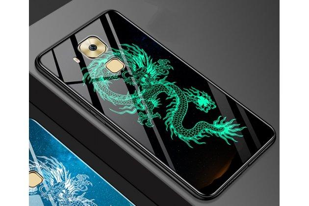 """Фирменный ультра-тонкий силиконовый чехол-бампер для Huawei Mate 20 Lite (SNE-LX1) с закаленным стеклом на заднюю крышку телефона с 3D изображением """"Дракон"""""""