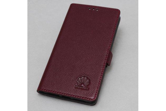 Фирменный чехол-книжка  из качественной импортной кожи с застёжкой и мультиподставкой для Huawei Mate 20 Lite (SNE-LX1) с логотипом бордовый