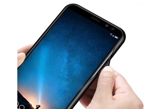 """Фирменный ультра-тонкий силиконовый чехол-бампер для Huawei Mate 20 Lite (SNE-LX1) с закаленным стеклом на заднюю крышку с изображением """"Цветы"""""""