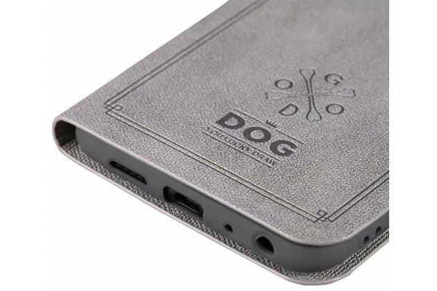"""Фирменный чехол-книжка из качественной импортной кожи с подставкой застёжкой и визитницей для Huawei Mate 20 Lite (SNE-LX1) с рисунком тематика """"Собачка"""" серый"""