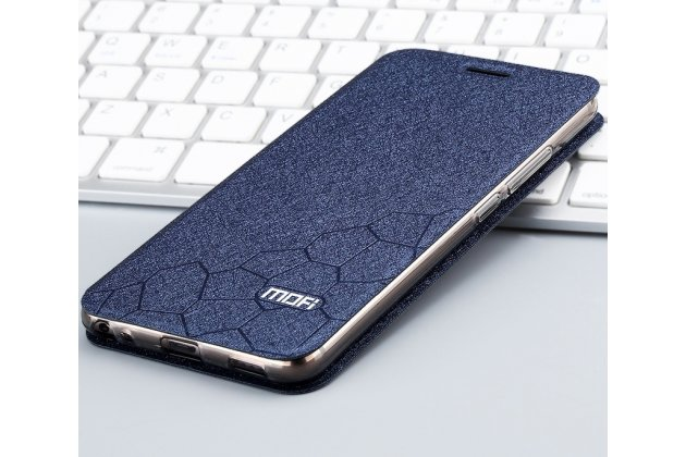Фирменный чехол-книжка водоотталкивающий с мульти-подставкой на жёсткой пластиковой основе для Huawei Mate 20 Lite (SNE-LX1) с декором синий