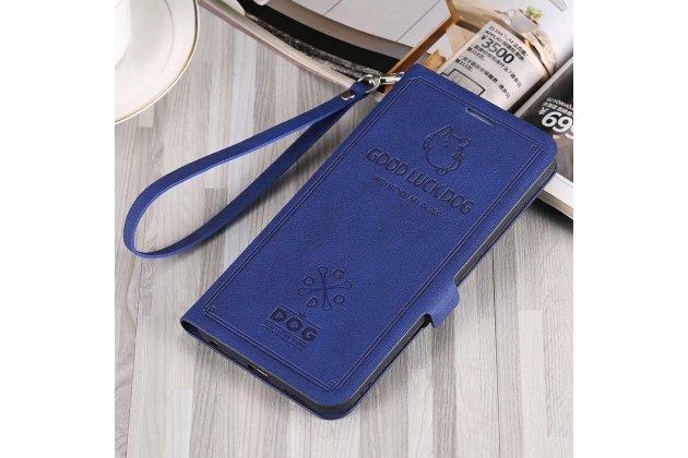 """Фирменный чехол-книжка из качественной импортной кожи с подставкой застёжкой и визитницей для Huawei Mate 20 Lite (SNE-LX1) с рисунком тематика """"Собачка"""" синий"""