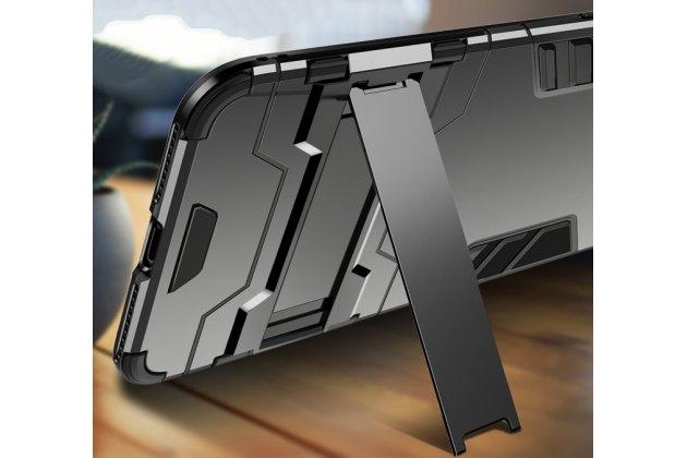 Противоударный усиленный ударопрочный фирменный чехол-бампер-пенал для Huawei Mate 20 Lite (SNE-LX1) золотой