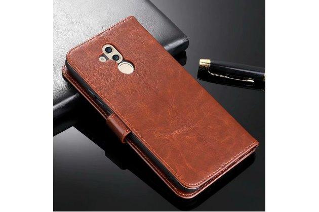 Фирменный чехол-книжка из качественной импортной кожи с подставкой застёжкой и визитницей для Huawei Mate 20 Lite (SNE-LX1) коричневый
