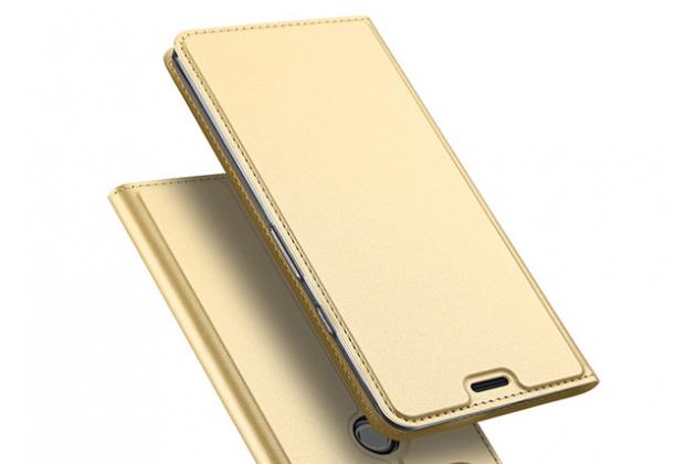 Фирменный чехол-книжка водоотталкивающий с мульти-подставкой на жёсткой металлической основе для iPhone XS золотой