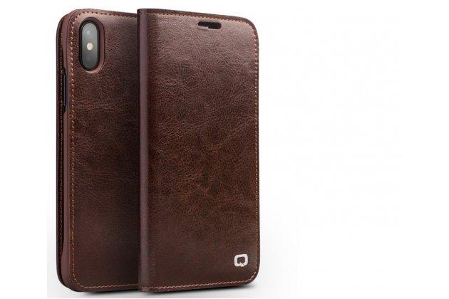 Фирменный премиальный элитный чехол-книжка из качественной импортной кожи с мульти-подставкой и визитницей для iPhone XS коричневый
