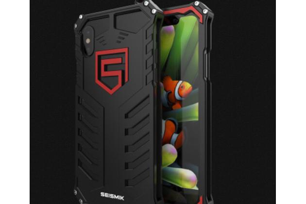 Противоударный металлический чехол-бампер из цельного куска металла с усиленной защитой углов и необычным экстремальным дизайном  для  iPhone XS черного цвета