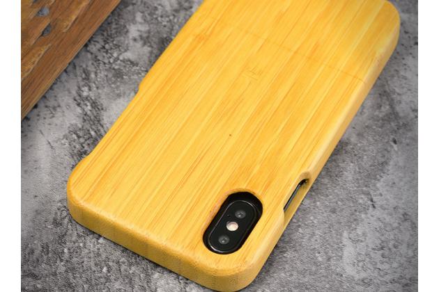 Фирменная оригинальная деревянная из натурального бамбука задняя панель-крышка-накладка для iPhone XS в белом цвете