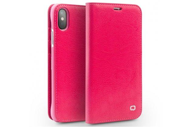 Фирменный премиальный элитный чехол-книжка из качественной импортной кожи с мульти-подставкой и визитницей для iPhone XS розовый
