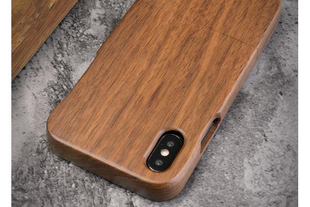 Фирменная оригинальная деревянная из натурального бамбука задняя панель-крышка-накладка для iPhone XS коричневая