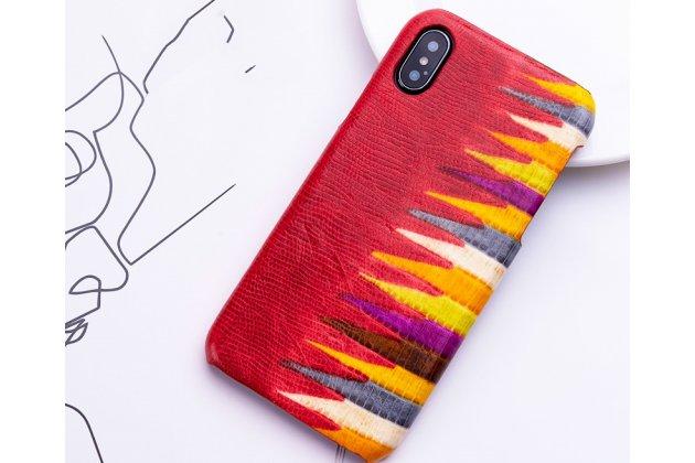 """Фирменная неповторимая экзотическая панель-крышка обтянутая кожей крокодила с фактурным тиснением для iPhone XS тематика """"Тропический Коктейль"""" красная. Только в нашем магазине. Количество ограничено."""