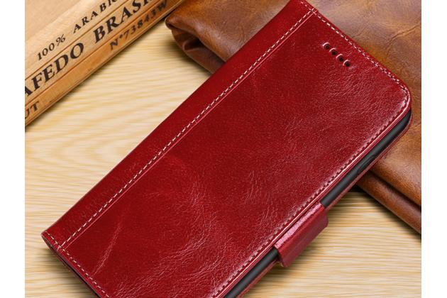 Фирменный премиальный элитный чехол-книжка из качественной импортной кожи с мульти-подставкой и визитницей для iPhone XS красный