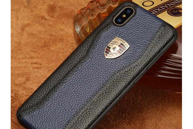 Фирменная роскошная задняя панель-крышка обтянутая импортной кожей для iPhone XS черно-синяя