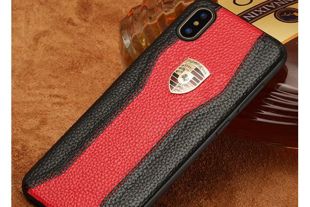 Фирменная роскошная задняя панель-крышка обтянутая импортной кожей для iPhone XS черно-красная