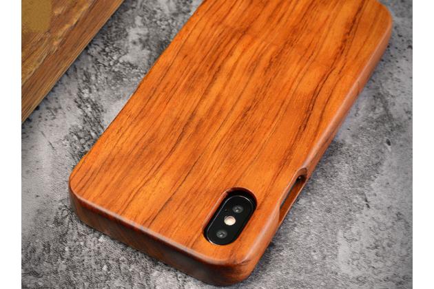 Фирменная оригинальная деревянная из натурального бамбука задняя панель-крышка-накладка для iPhone XS светло-коричневая