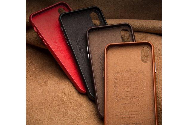 Фирменная роскошная задняя панель-крышка обтянутая импортной кожей для iPhone XS красная