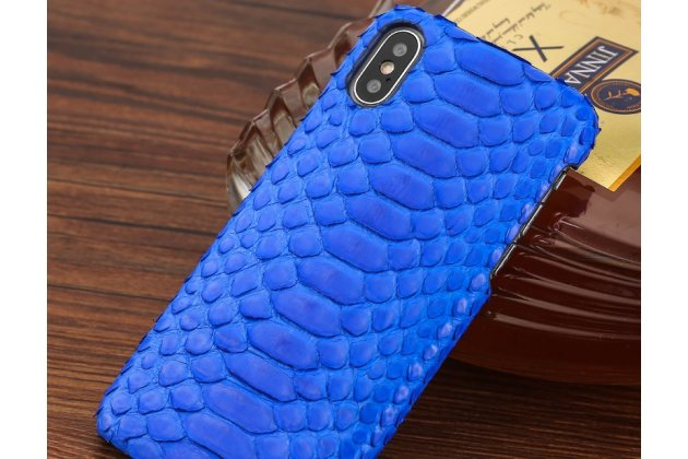 Фирменная элегантная экзотическая задняя панель-крышка с фактурной отделкой натуральной кожи змеи синего цвета для iPhone XS. Только в нашем магазине. Количество ограничено.
